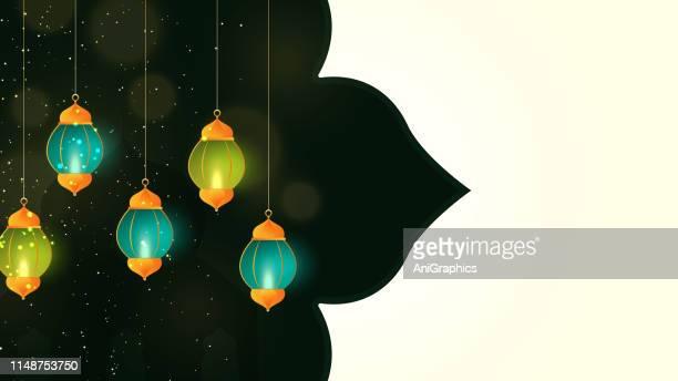 lamp for ramadan kareem greetings for ramadan background - eid ul fitr stock illustrations