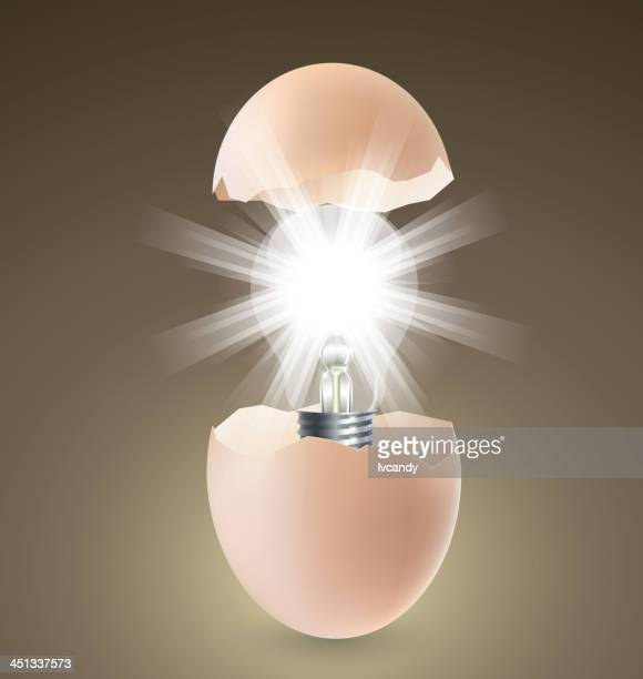 lamp in egg - hatching stock illustrations