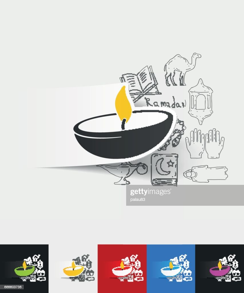 lamp paper sticker with hand drawn elements