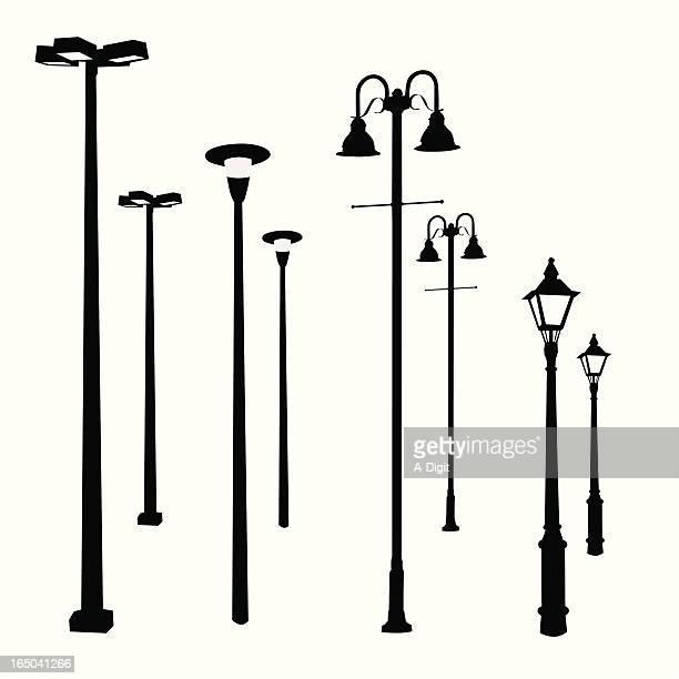 lamp posts vector silhouette - street light stock illustrations