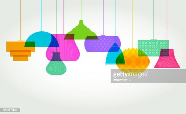 lamp shade designs - pendant light stock illustrations