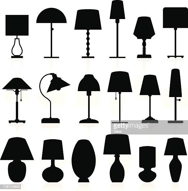 lamp silhouettes pack - electric lamp stock illustrations