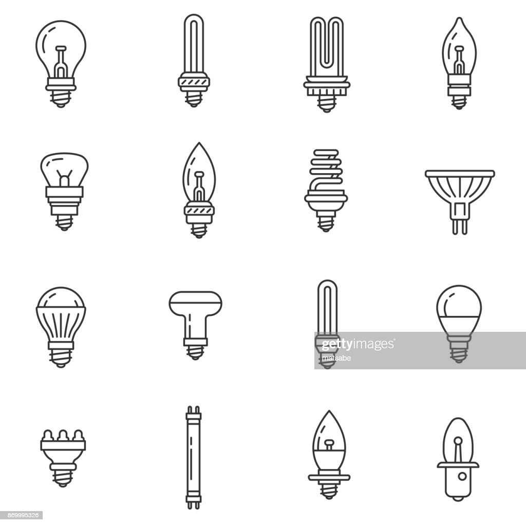 Lamps and spotlights icons set. Editable stroke