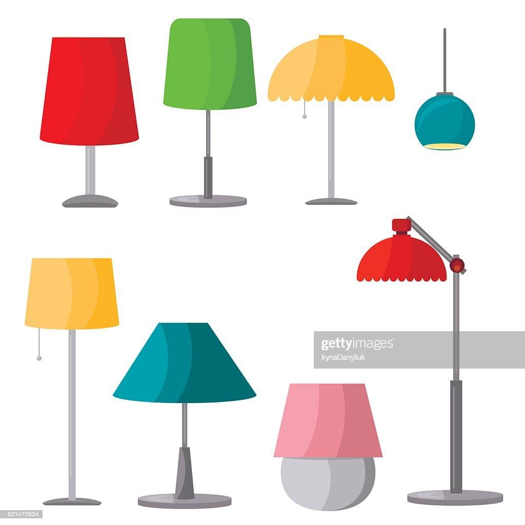 Lamps furniture set light design electric vector illustration.