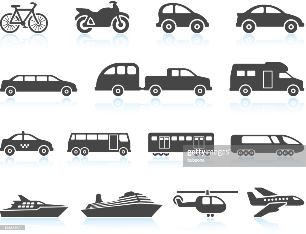 Land Air and water Transportation vehicles icon set : stock illustration