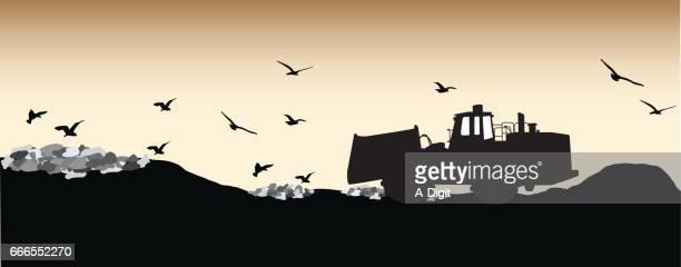 landfill feeding frenzy - scavenging stock illustrations
