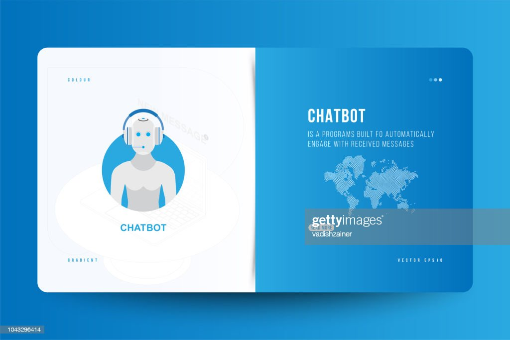 Landing Page design template for web site with Icon Chatbot and technology world map on the background. Outline drawing laptop in isometric style. Flat vector illustration EPS10