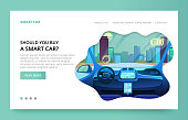 Landing page design with futuristic car interior illustration, interface car elements flat vector illustration. Clean site design with slider