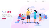 Landing Page Flat Template with Family BBQ Text