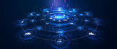 landing page IoT. Internet of things  devices and connectivity concepts on a network. Spider web of network connections with on a futuristic blue background.
