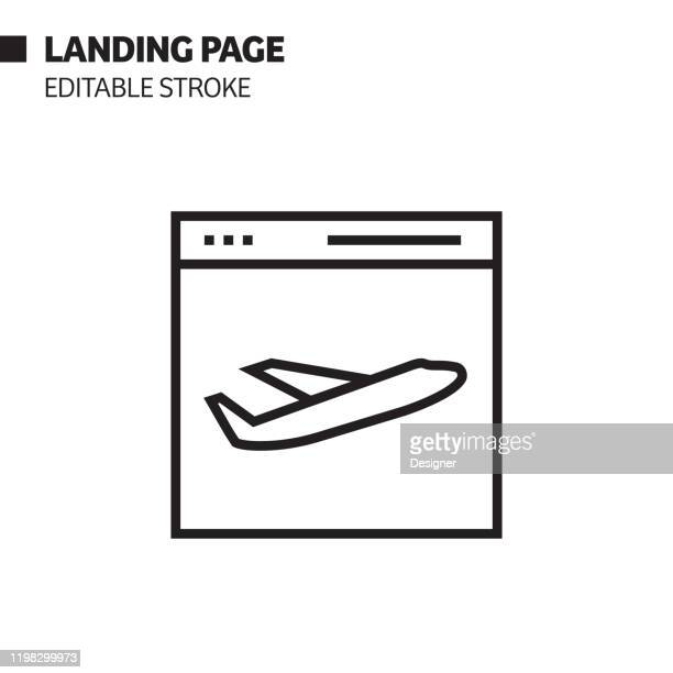 landing page line icon, outline vector symbol illustration. pixel perfect, editable stroke. - landing page stock illustrations