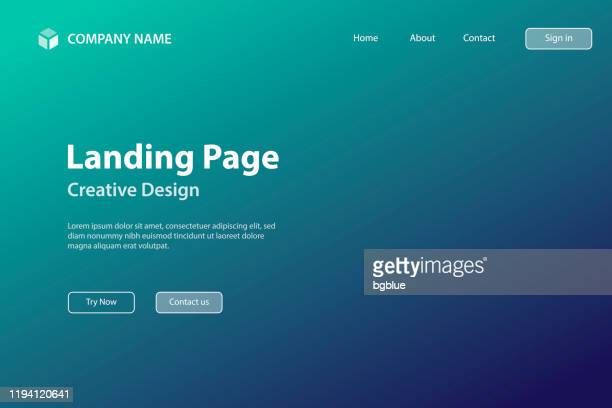 landing page template - abstract blurred background - defocused green gradient - landing page stock illustrations