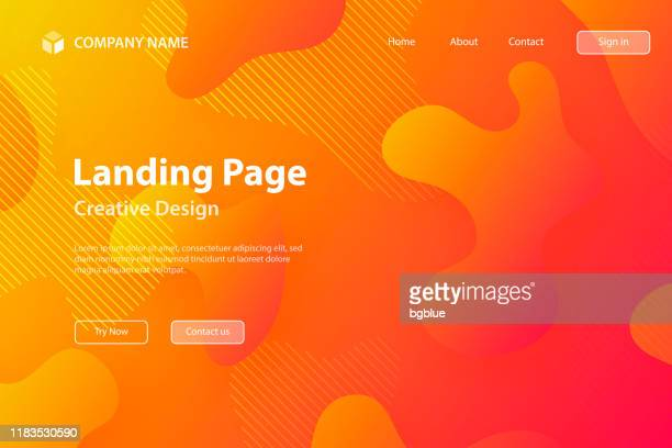 landing page template - abstract design with fluid shapes on orange gradient background - bright stock illustrations