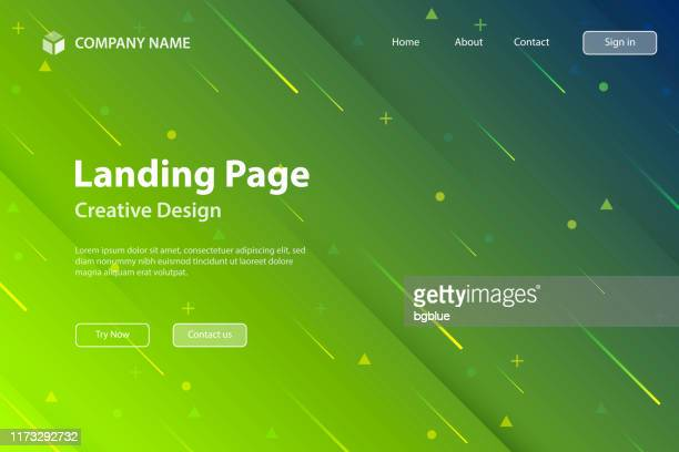 landing page template - abstract design with geometric shapes - trendy green gradient - meteor shower stock illustrations