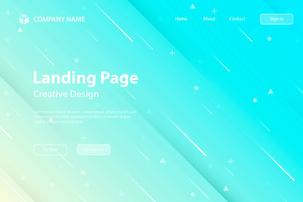 landing page template - abstract design with geometric shapes - trendy blue gradient - pastel stock illustrations