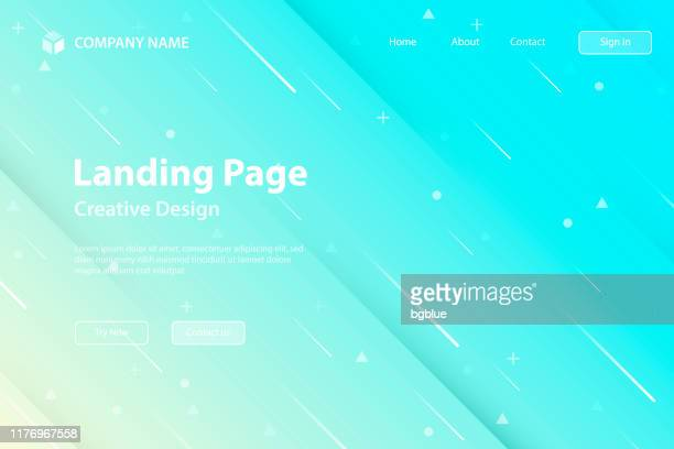 landing page template - abstract design with geometric shapes - trendy blue gradient - light blue stock illustrations