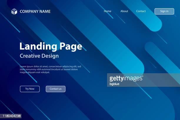 landing page template - abstract design with geometric shapes - trendy blue gradient - design element stock illustrations
