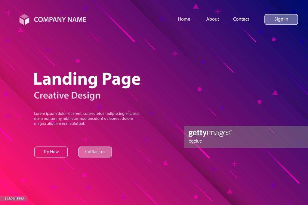 Plantilla de página de aterrizaje - Diseño abstracto con formas geométricas - Degradado rosa de moda : Ilustración de stock