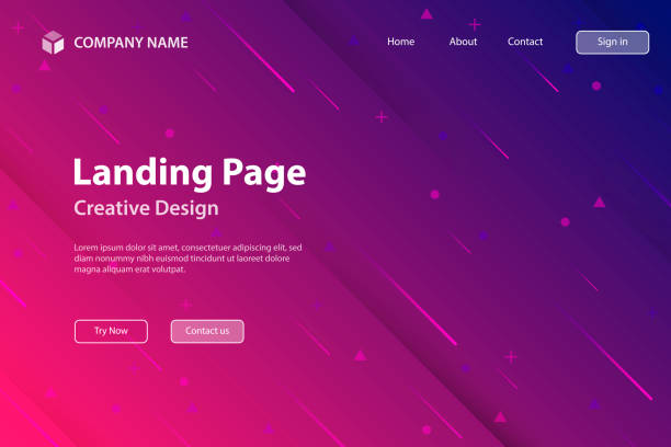 landing page template - abstract design with geometric shapes - trendy pink gradient - pink stock illustrations