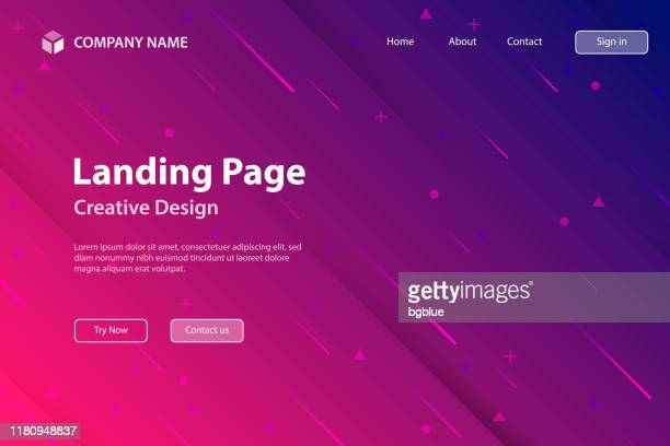 landing page template - abstract design with geometric shapes - trendy pink gradient - purple stock illustrations