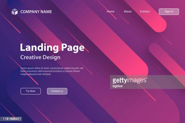 landing page template - abstract design with geometric shapes - trendy purple gradient - tilt stock illustrations