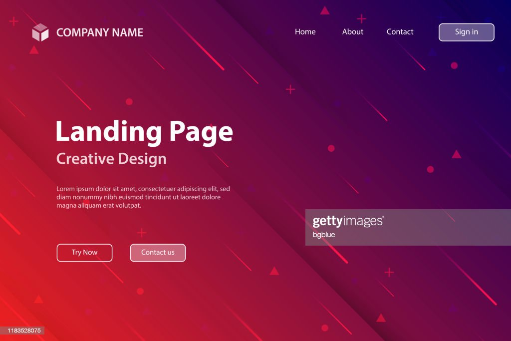 Landing page Template - Abstract design with geometric shapes - Trendy Red Gradient : stock illustration