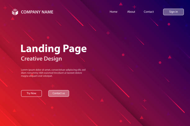 landing page template - abstract design with geometric shapes - trendy red gradient - cool attitude stock illustrations