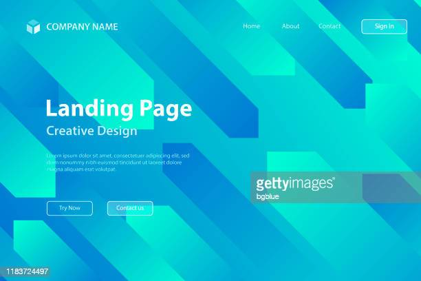 landing page template - abstract design with geometric shapes - trendy blue gradient - slanted stock illustrations