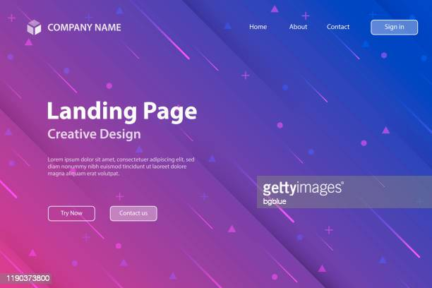 landing page template - abstract design with geometric shapes - trendy purple gradient - landing page stock illustrations