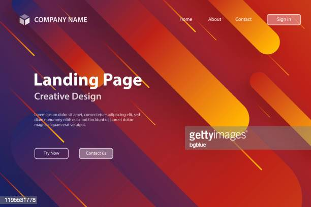 landing page template - abstract design with geometric shapes - trendy orange gradient - landing page stock illustrations