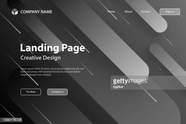landing page template - abstract design with geometric shapes - trendy gray gradient - landing page stock illustrations