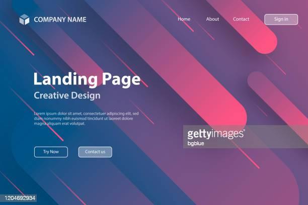 landing page vorlage - abstraktes design mit geometrischen formen - trendy pink gradient - wissenschaft und technik stock-grafiken, -clipart, -cartoons und -symbole