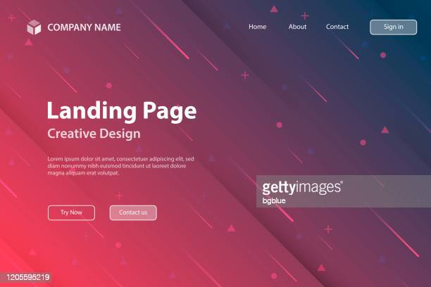 landing page template - abstract design with geometric shapes - trendy red gradient - landing page stock illustrations