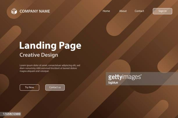 landing page template - abstract design with geometric shapes - trendy brown gradient - brown background stock illustrations