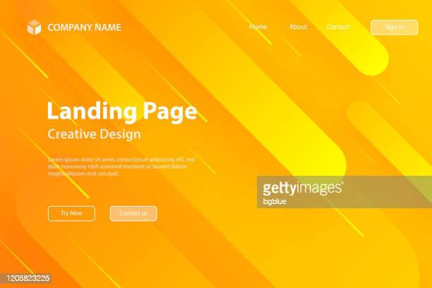 landing page template - abstract design with geometric shapes - trendy orange gradient - orange background stock illustrations