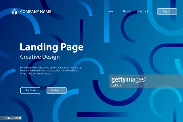 landing page template - abstract design with geometric shapes - trendy blue gradient - navy blue stock illustrations