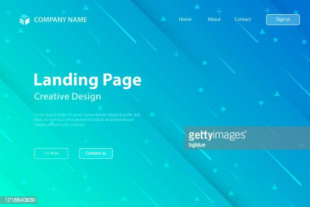 landing page template - abstract design with geometric shapes - trendy blue gradient - landing page stock illustrations