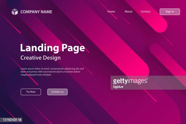 landing page template - abstract design with geometric shapes - trendy pink gradient - landing page stock illustrations