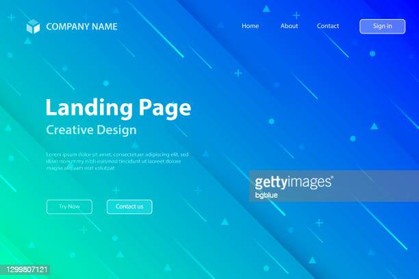 landing page template - abstract design with geometric shapes - trendy blue gradient - meteor shower stock illustrations