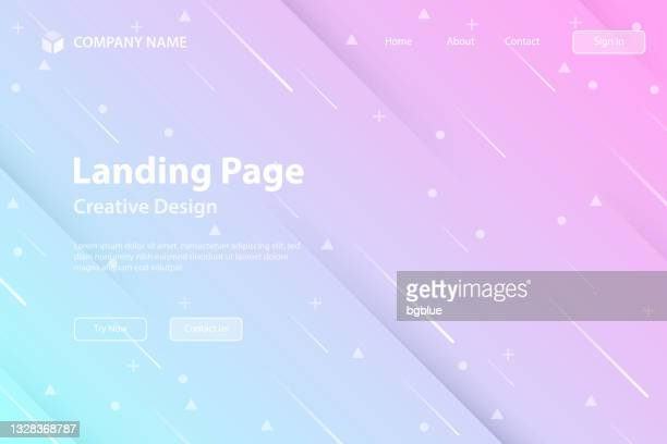 landing page template - abstract design with geometric shapes - trendy pink gradient - meteor shower stock illustrations