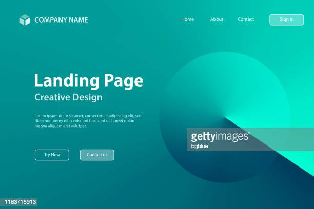 landing page template - abstract design with green gradient color - trendy background - landing page stock illustrations
