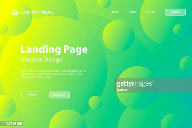 landing page template - abstract geometric background with green gradient circles - landing page stock illustrations