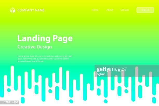 landing page template - abstract rounded lines - halftone transition - green seamless background - landing page stock illustrations