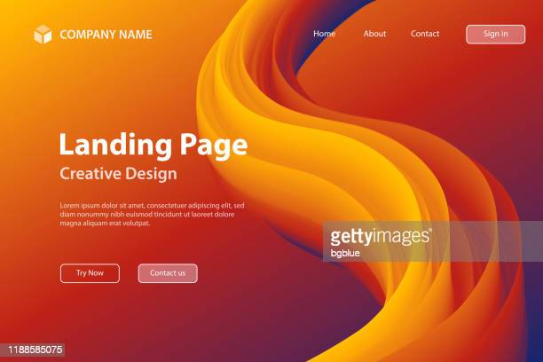 landing page template - fluid abstract design on orange gradient background - orange color stock illustrations