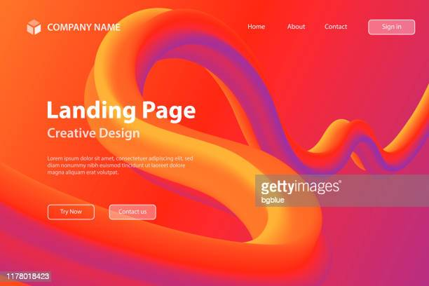 landing page template - fluid abstract design on red gradient background - curve stock illustrations