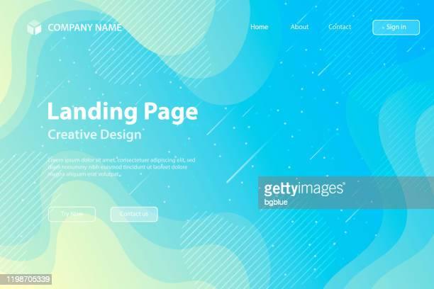 ランディングページテンプレート - 流体および幾何学的形状構成 - 青のグラデーション - 水色点のイラスト素材/クリップアート素材/マンガ素材/アイコン素材