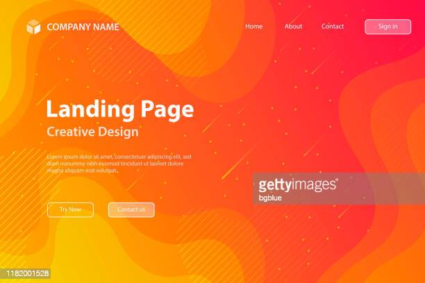 landing page template - fluid and geometric shapes composition - orange gradient - orange color stock illustrations