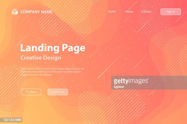landing page template - fluid and geometric shapes composition - orange gradient - meteor shower stock illustrations