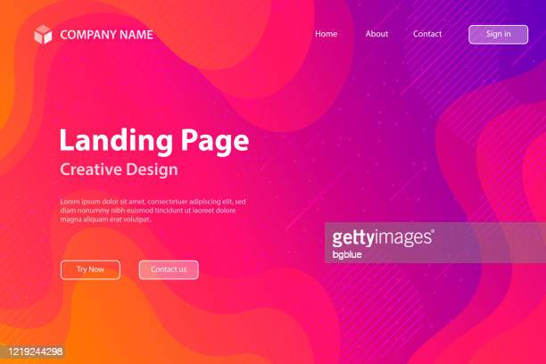 landing page template - fluid and geometric shapes composition - pink gradient - meteor shower stock illustrations