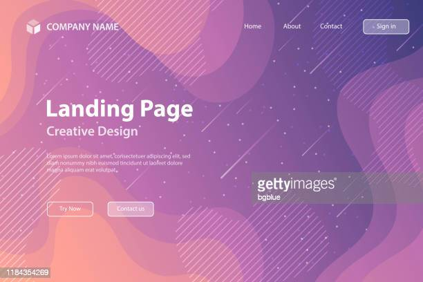 landing page template - fluid and geometric shapes composition - purple gradient - meteor shower stock illustrations